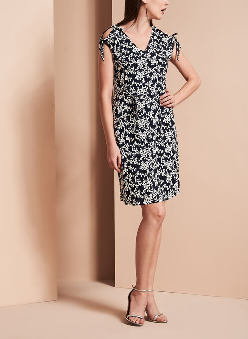 Ivanka Trump Floral Print Jersey Dress, Blue, hi-res