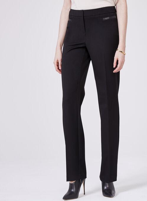 Bi-Stretch Straight Leg Pants , Black, hi-res