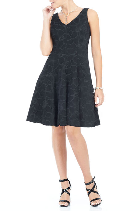 Sleeveless Scuba A-Line Dress, Black, hi-res