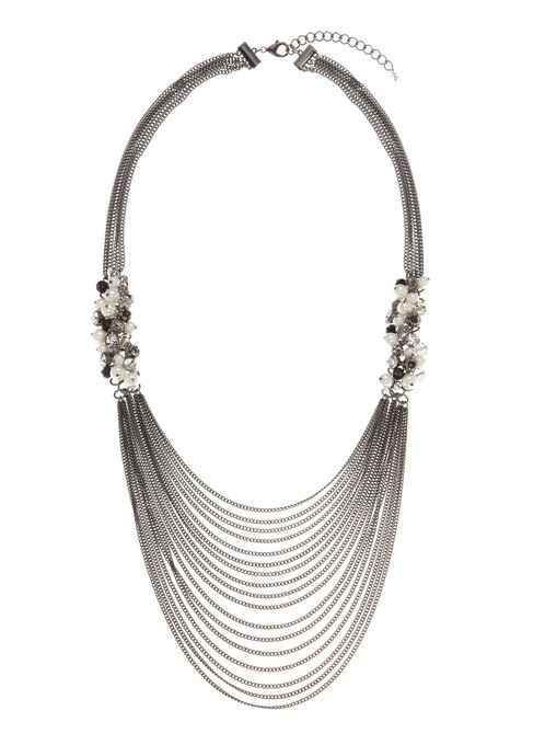 Mixed Bead Multi-Strand Necklace, Grey, hi-res