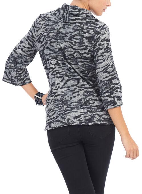 3/4 Sleeve Printed Cowl Neck Top, Black, hi-res