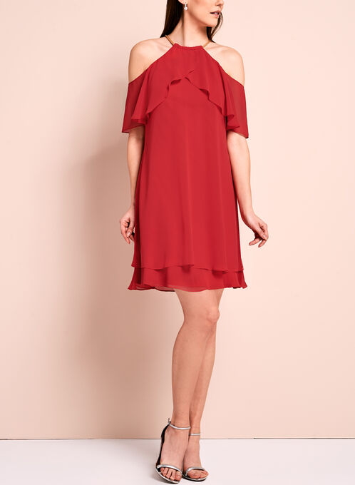 Ruffle Trim Cold Shoulder Dress, Red, hi-res