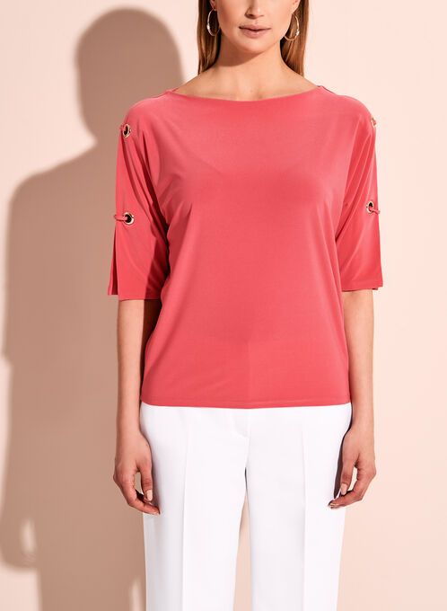 Cold Shoulder Grommet Knit Top, Pink, hi-res