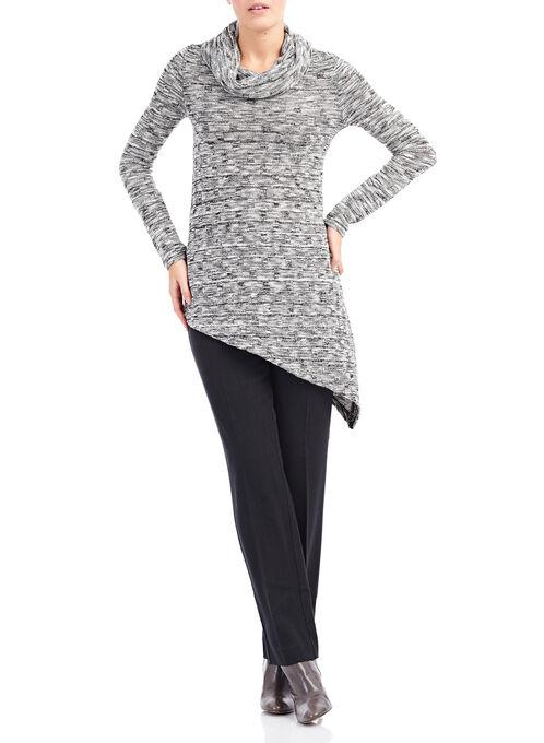 Asymmetrical Cowl Neck Sweater, Black, hi-res