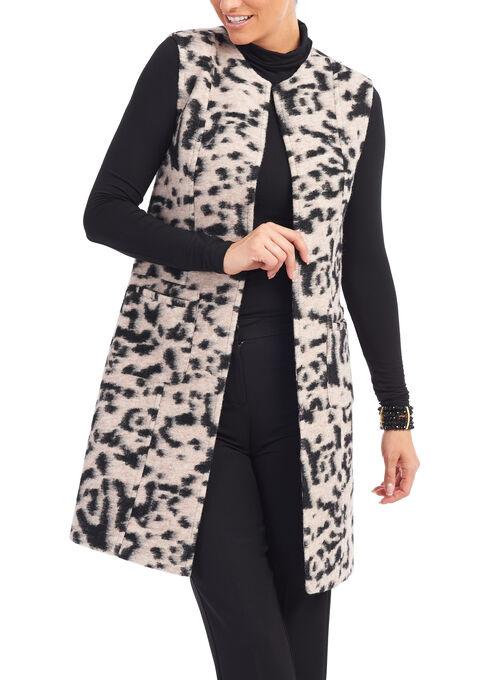 Sleeveless Animal Print Jacket , Black, hi-res