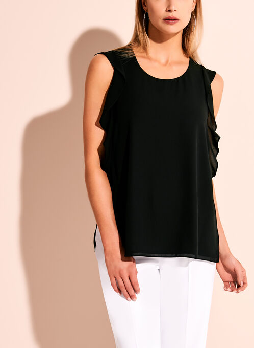 Ruffle Trim Round Neck Blouse, Black, hi-res