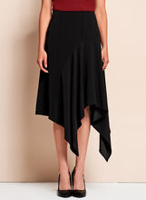 Crinkle Crepe Asymmetric Skirt, Black, hi-res
