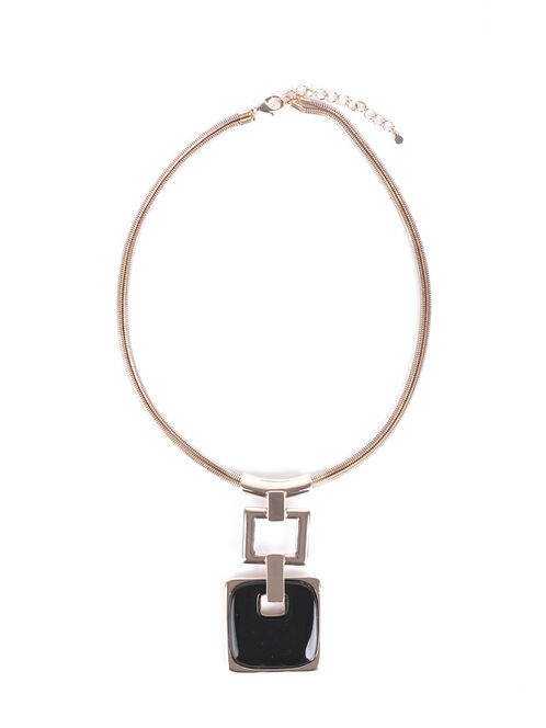 Open Square Snake Chain Necklace, Black, hi-res