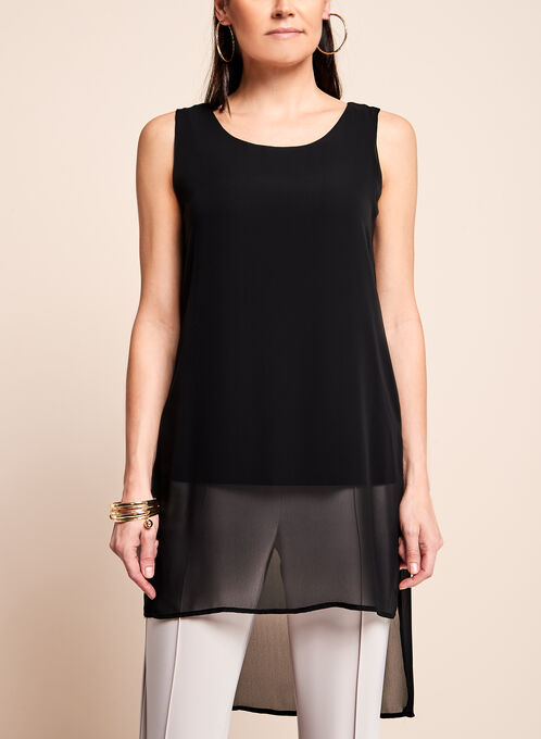 Sleeveless Double Layer Tunic Top , Black, hi-res