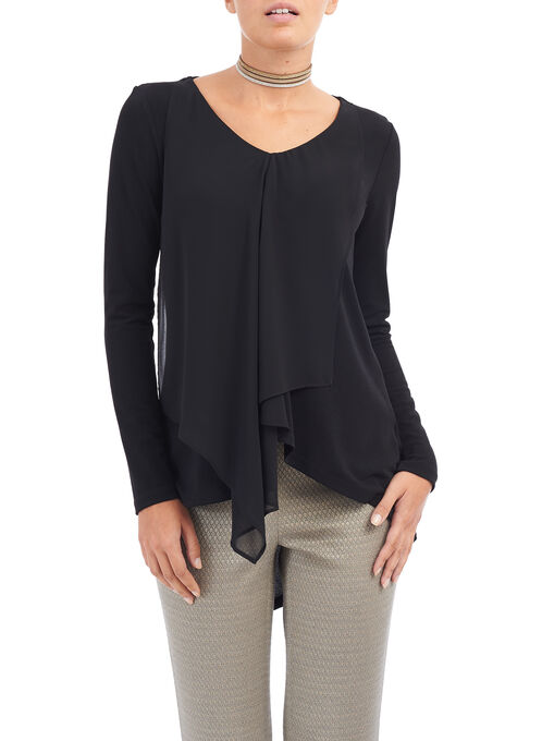 Long Sleeve Layered Tunic Top, Black, hi-res