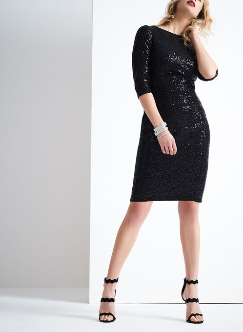 3/4 Sleeve Sequin Dress , Black, hi-res
