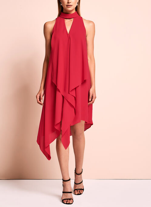 Maggy London - Robe asymétrique à ras-de-cou, Rouge, hi-res