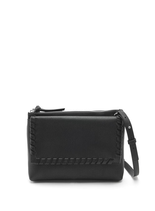 Whipstitch Foldover Crossbody Bag, Black, hi-res