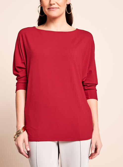 3/4 Sleeve Boat Neck Sweater, Red, hi-res