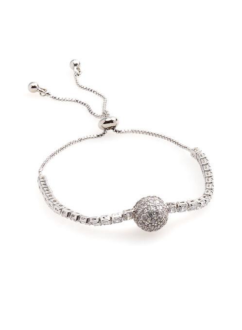 Bracelet de brillants avec perle de cristaux, Argent, hi-res