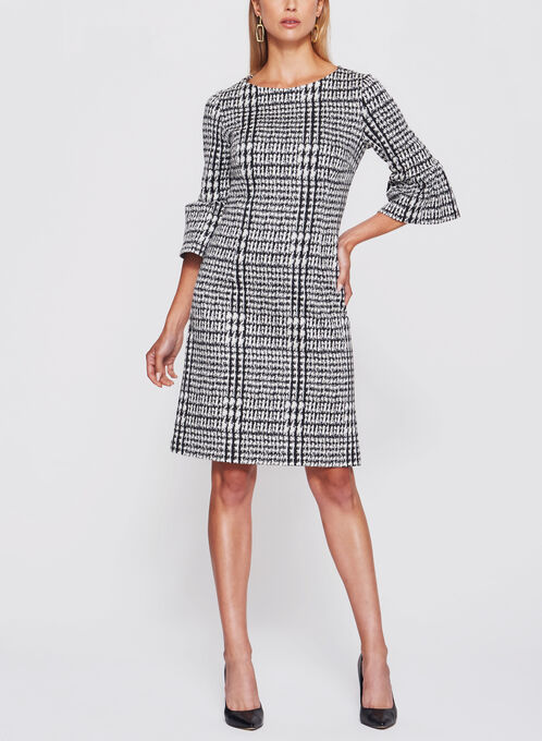 Abstract Houndstooth Ruffle Trim Dress, Black, hi-res