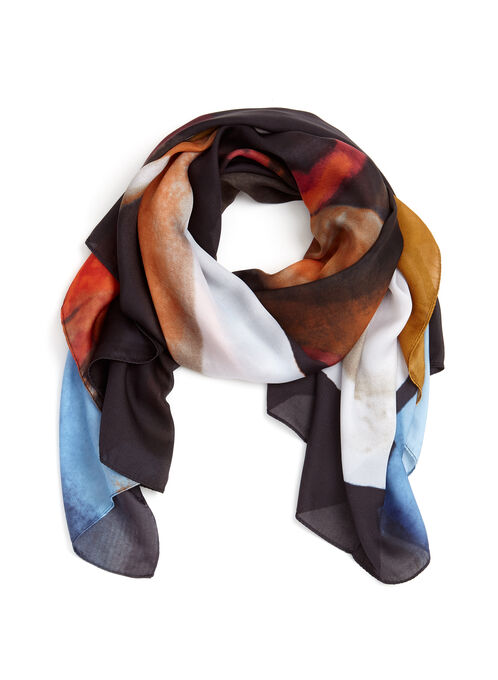 Abstract Print Square Scarf, Black, hi-res