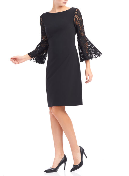 Bell Sleeve Lace Sheath Dress, Black, hi-res