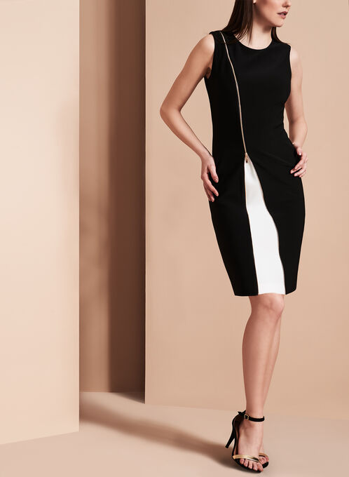 Frank Lyman Zipper Detail Dress, Black, hi-res