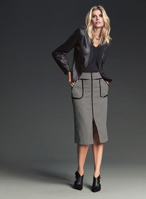 Houndstooth Print Pencil Skirt , Black, hi-res
