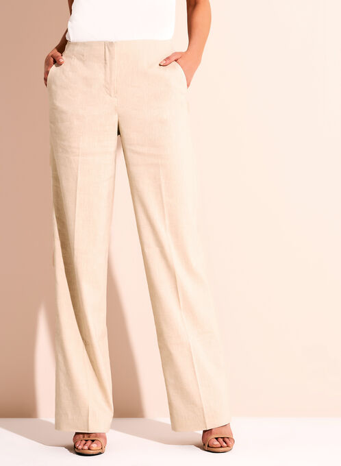 Wide Leg Stretch Linen Pants, Grey, hi-res