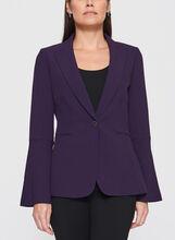 Tahari - One-Button Bell Sleeve Crepe Blazer, Purple, hi-res