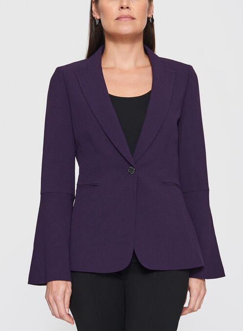 Tahari - One-Button Bell Sleeve Crepe Blazer, Purple, hi-res