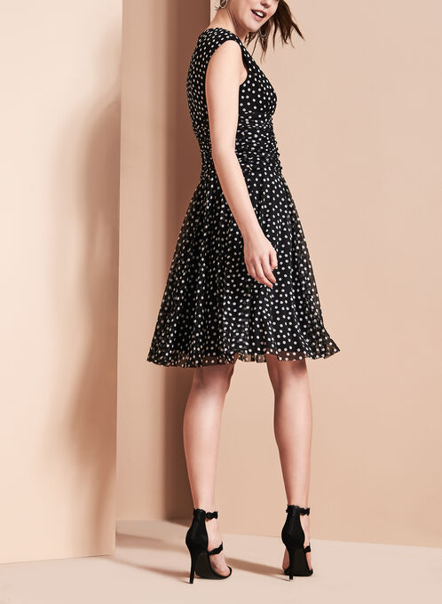 Maggy London Polka Dot Dress, Black, hi-res