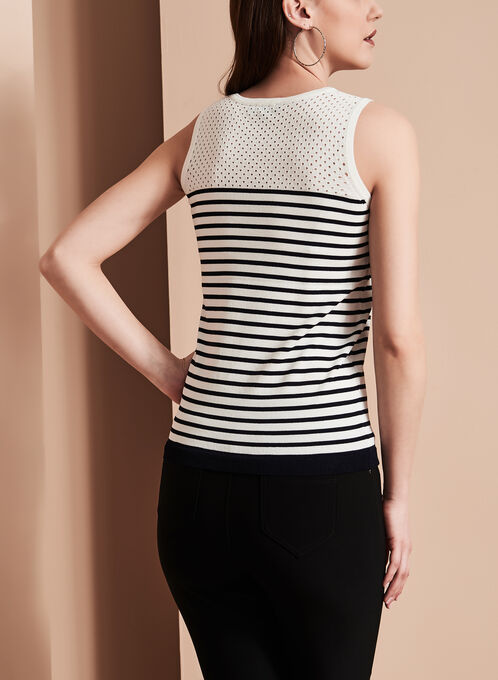 Sleeveless Stripe Print Knit Top, Blue, hi-res
