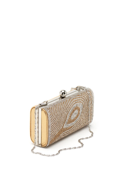Crystal Embellished Evening Clutch, Gold, hi-res
