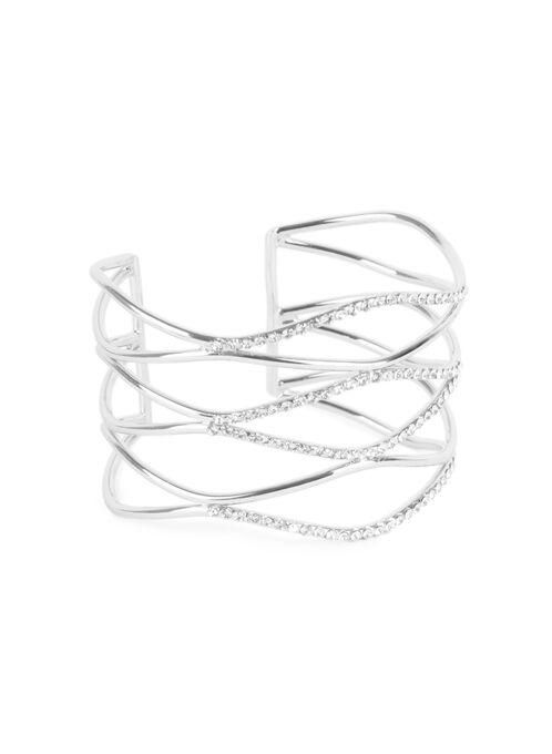 Crystal Cuff Bracelet , Silver, hi-res