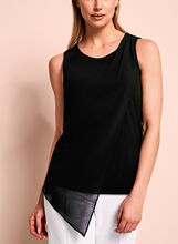 Sleeveless Asymmetric Blouse, Black, hi-res