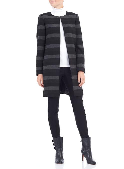 Tahari Stripe Print Jacket , Black, hi-res