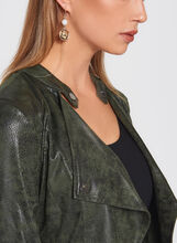 Zipper Trim Faux Leather Jacket, Green, hi-res