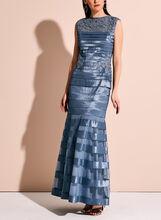 Lace Mesh Shimmer Shutter Dress, Blue, hi-res