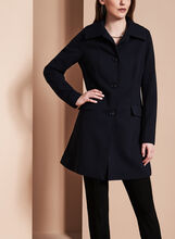 Nuage Single-Breasted Textured Coat , Blue, hi-res