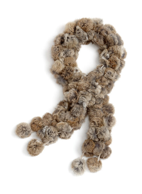 Rabbit Fur Pom Pom Scarf, Brown, hi-res