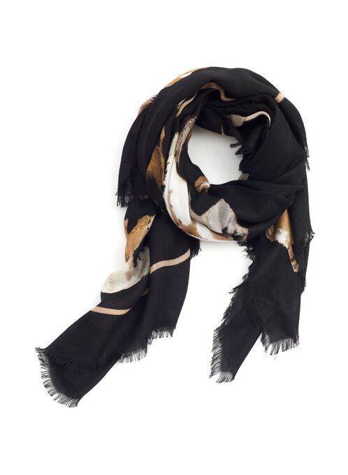 Rose Print Lightweight Scarf, Black, hi-res