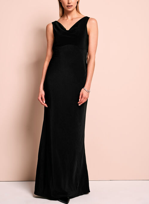 Drape Neck Empire Waist Dress, Black, hi-res