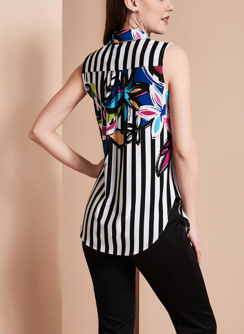 Frank Lyman Floral & Stripe Print Top, Black, hi-res