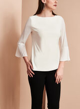Long Sleeve Pleated Chiffon Blouse, Off White, hi-res