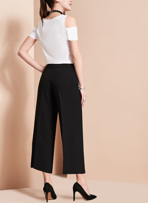 Wide Leg Culotte Pants, Black, hi-res