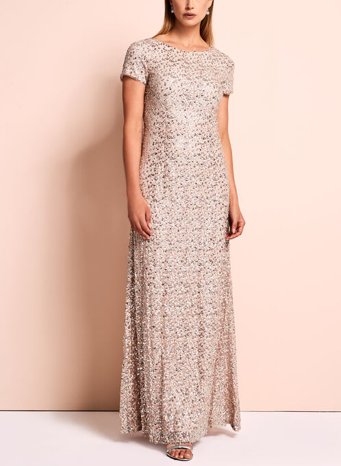 Short Sleeve Sequin Evening Gown, Pink, hi-res