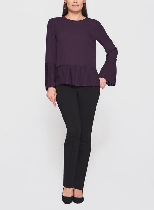 Pleated Bell Sleeve Crepe Blouse, Purple, hi-res