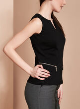 Split Neck Zipper Trim Top, , hi-res