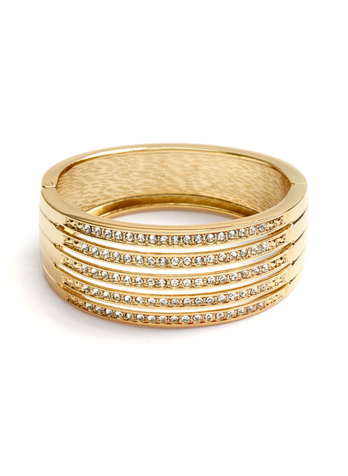 Multi-Row Crystal Bangle, Gold, hi-res