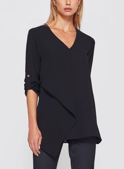 Asymmetric 3/4 Sleeve Crêpe Tunic, Black, hi-res