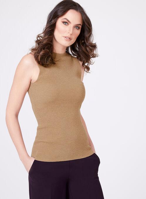 Sleeveless Mock Turtleneck Sweater, Brown, hi-res