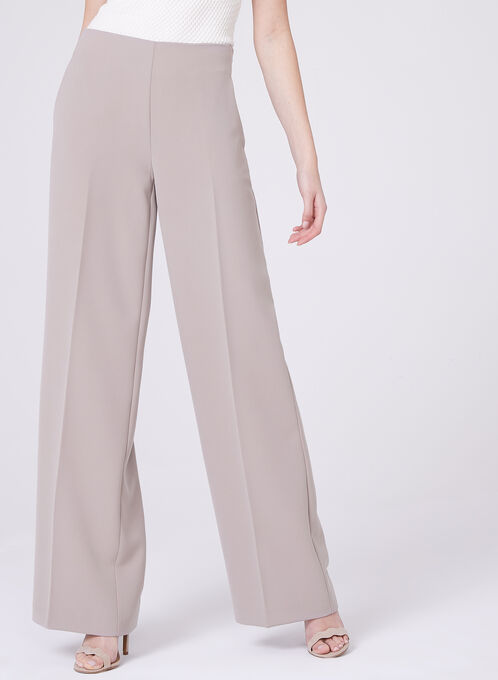 High Waist Wide Leg Pants, Off White, hi-res