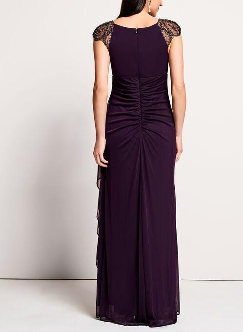 Beaded Neckline Mesh Gown, Purple, hi-res